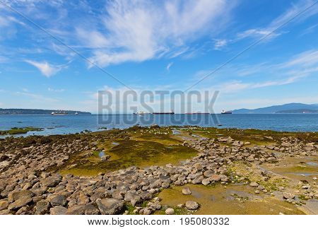 Landscape with sea rocks exposed during low tide. Sea with ships and mountains on horizon in Vancouver Canada.