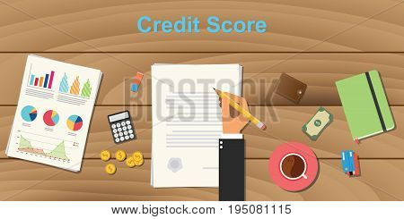 credit score concept illustration with business man hand working on paper work with graph and chart money and pencil with coffee on top of wooden table vector.