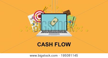 cashflow concept illustration with laptop and money om screen with gold coin, goals target, paperwork as background that falling from sky vector