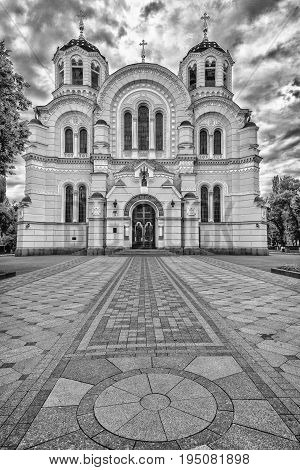 St. Vladimir's Cathedral.Black and white photo.Beautiful sky