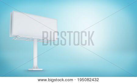 3d rendering of white blank billboard on the bluebackground. Marketing ways. Information source. City details.