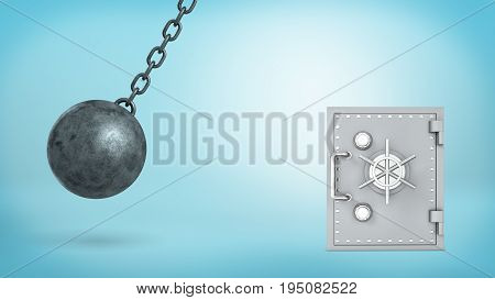 3d rendering of a large wrecking ball swinging in dangerous closeness to silver old-fashioned safe box and crashing itself in many pieces. Safety and insurance. Best money protection. Reliable bank.