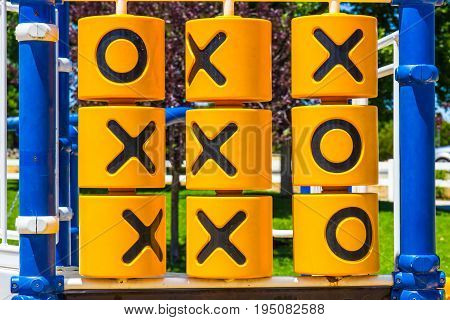 Tic-Tac-Toe Game Locateded On Children's Playground Equipment