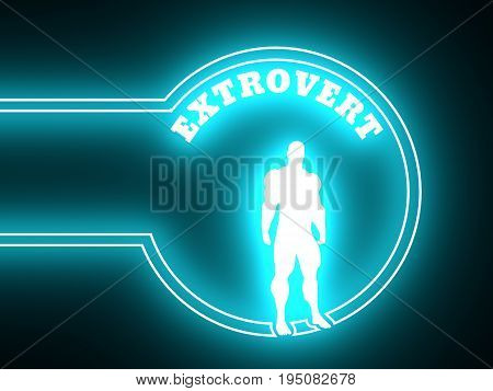 Extrovert simple icon metaphor. Image relative to human psychology. Muscular man in the neon shine circle. 3D rendering