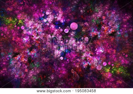 Abstract Drops And Swirly Shapes On Dark Background. Fantasy Fractal Design In Bright Red, Blue, Gre
