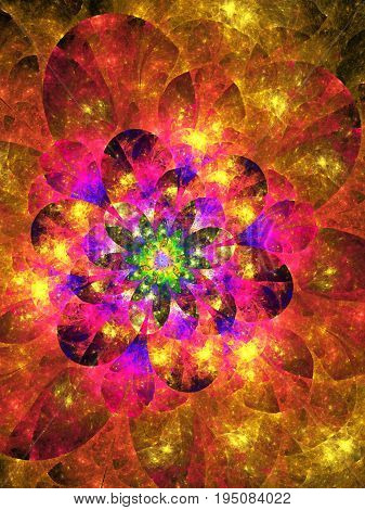 Abstract Exotic Flower. Fantasy Fractal Design In Bright Red, Yellow, Purple And Green Colors. Psych