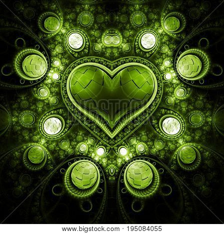 Abstract Ornamented Heart With Gems. Fantasy Detailed Fractal Background In Bright Green Colors. Dig