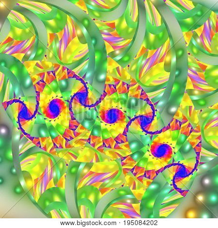 Abstract Exotic Floral Ornament In Yellow, Green, Blue And Pink Colors. Fantasy Fractal Design. Psyc