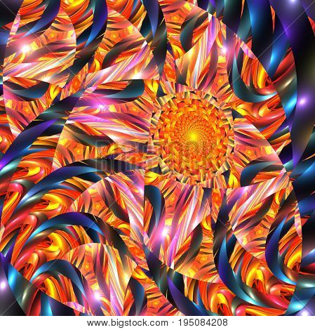 Abstract Exotic Floral Ornament In Yellow, Red And Blue Colors. Fantasy Fractal Design. Psychedelic