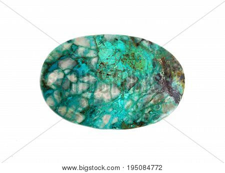 Natural gemstone Israeli turquoise - chrysocolla isolated over white