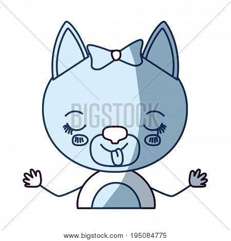 blue color shading silhouette caricature half body of cute female cat in skirt with bow lace with disgust expression and sticking out tongue vector illustration