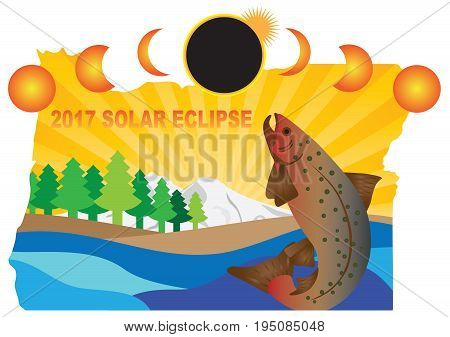 2017 Solar Eclipse Totality across Oregon State map color vector illustration