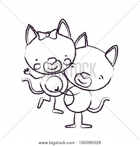 blurred sketch contour caricature with couple of kittens one carrying the other cute animals love vector illustration