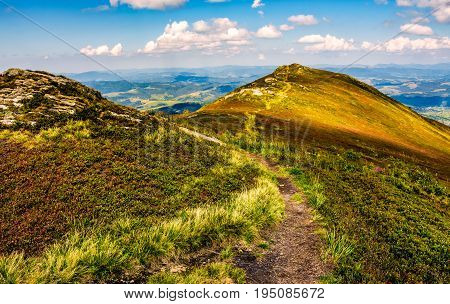 Footpath Through A Meadow On Mountain Ridge