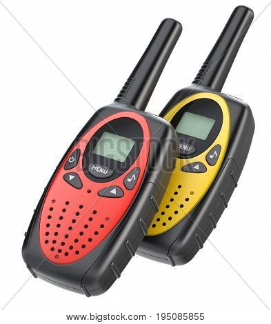 Pair of child walkie talkies isolated on white background - 3d illustration