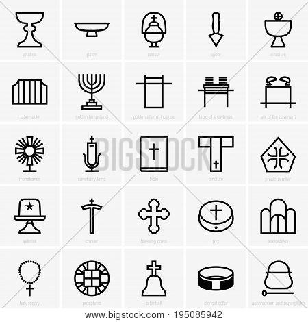 Set of twenty five different religion icons