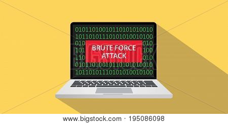 brute force attack concept illustration with laptop comuputer and text banner on screen with flat style and long shadow vector