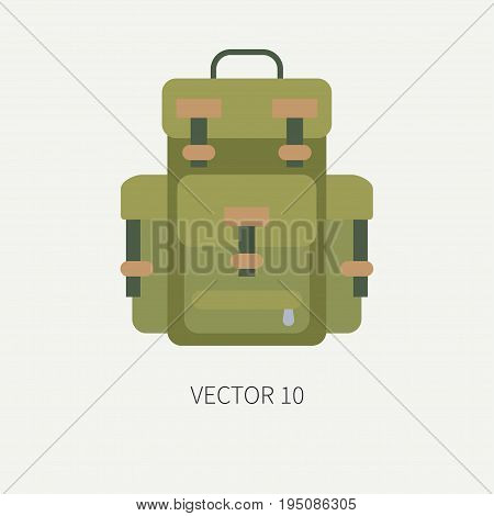 Line tile color vector hunt and camping icon - backpack. Hunter equipment, armament. Retro cartoon style. Wildlife travel. Camouflage. Forest. Illustration and element for your design, wallpaper.