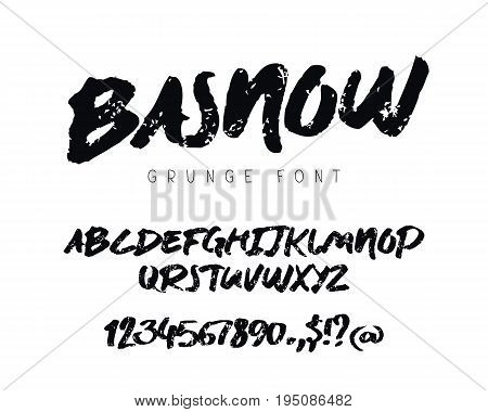 Grunge modern vector font on white background. Uppercase letters numbers and symbols. Lettering typography. English alphabet. Elements for design.