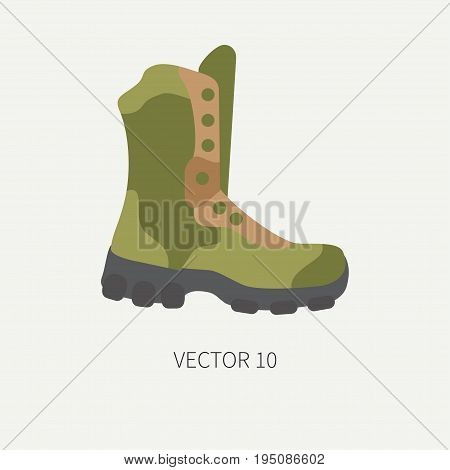 Line tile color vector hunt and camping icon - ankle, boots. Hunter equipment, armament. Retro cartoon style. Wildlife travel. Camouflage. Forest. Illustration and element for design, wallpaper