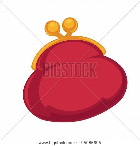 Full vintage red purse made of fabric with metal golden locker isolated cartoon vector illustration on white background. Old-fashioned accessory for coins. Symbol of material wealth and money saving.