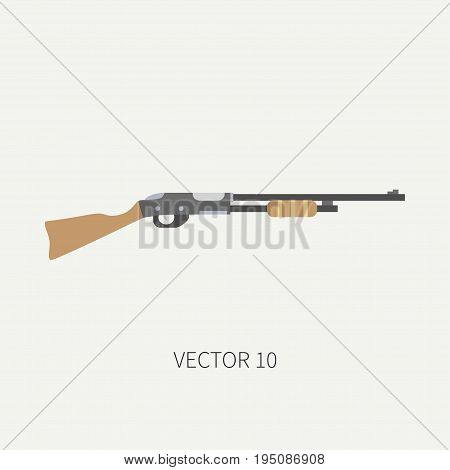 Line tile color vector hunt and camping icon shotgun, rifle. Hunter equipment, armament. Retro cartoon style. Wildlife travel. Camouflage. Forest. Illustration and element for design, wallpaper
