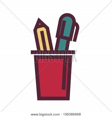 Holder for pens with two yellow and green objects vector colorful illustration in graphic design. Closeup poster of long red plastic cup for keeping pencils and other elements for writing and drawing