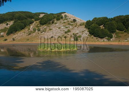 View of Little mountain lake in Lazio