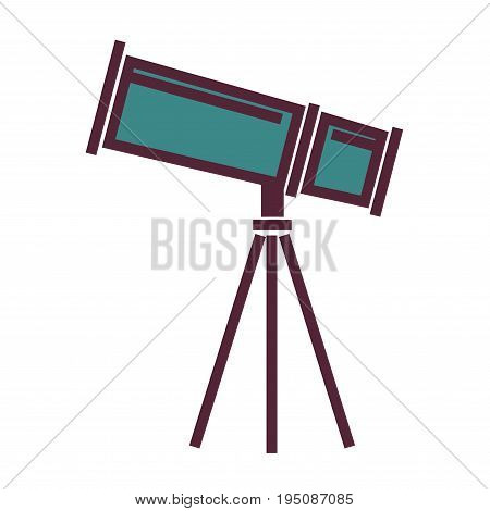 Big powerful telescope with metal blue corpus on tripod isolated flat cartoon vector illustration on white background. Equipment for scientific astronomical researches and night sky observation.