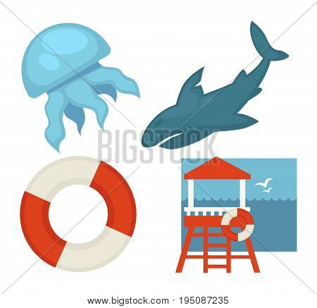Lifeguard or sea guard and water danger warning icons set. Vector isolated flat shark, jellyfish or life buoy and rescuer tower