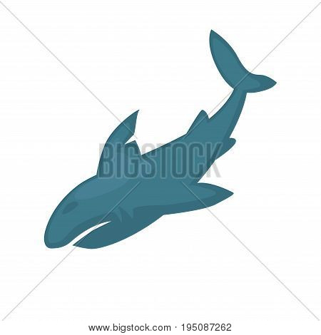 Vector illustration of abstract simple blue shark isolated on white.