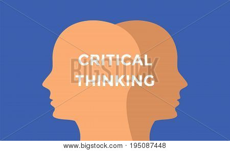 critical thinking concept illustration with head silhouette and text over it vector