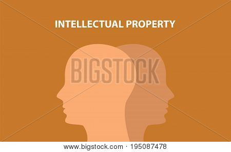 intellectual property concept illustration with human head silhouette and text over it with brown background vector