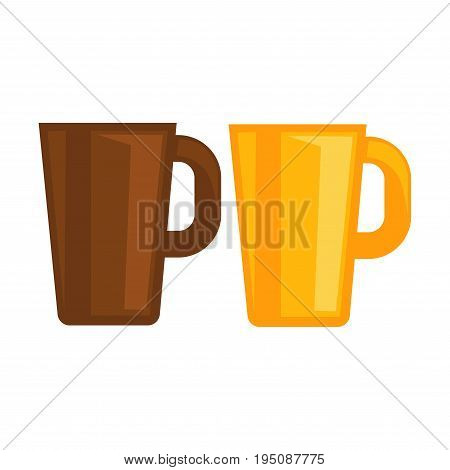 Deep tea cups with big handles made of brown and yellow glossy ceramic isolated flat cartoon vector illustrations on white background. Home tableware for hot drinks with bright modern design.