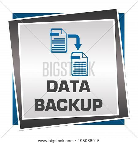 Data backup concept image with text and related graphics.