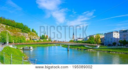 Beautiful view of Salzburg skyline with Salzach river in summer, Salzburg, Salzburger, Austria