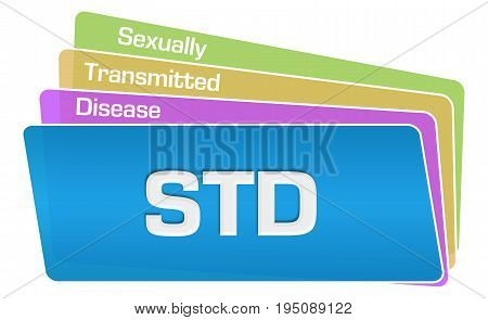 STD - Sexually Transmitted Disease text written over colorful background.