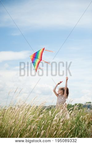Cute caucasian little girl with long hair holding kite in the field on summer sunny day