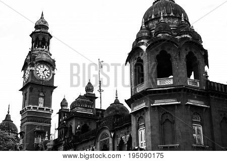 This image captures a vintage building which also symbolizes old architecture. Probably build by the Britishers during their rule in India. Image also available in Colour.