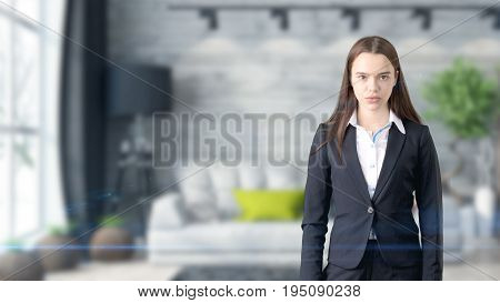 Young Beautiful Business Woman And Creative Designer Standing Over Blured Interior Background