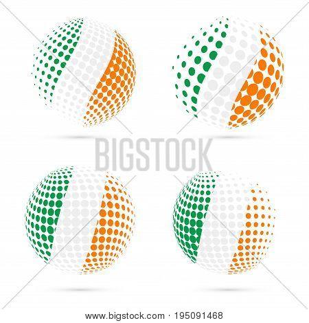 Ireland Halftone Flag Set Patriotic Vector Design. 3D Halftone Sphere In Ireland National Flag Color