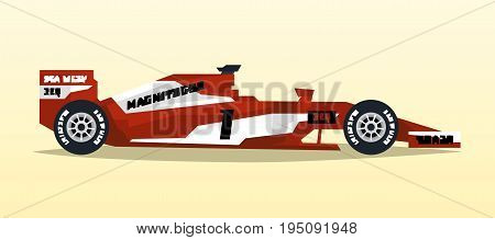 A racing bolid. Sport car. Quick transport. Powerful engine. Aerodynamic body. Tape off stickers of sponsors, inscriptions. Side view, isolated on background