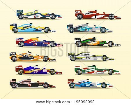 Set of racing bolid. A collection of sports cars. Quick transport. Powerful engine. Aerodynamic body. Stickers, labels. Side view, isolated on background