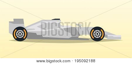 Gray racing bolid. Sports car. Quick transport. Powerful engine. Aerodynamic body. Side view, isolated on background. Vector illustration
