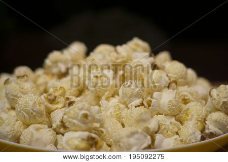A photo of delicious white popcorn background