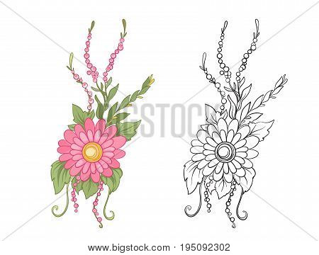 Set of colored and outline bouquet of flowers.   Stock line vector illustration.