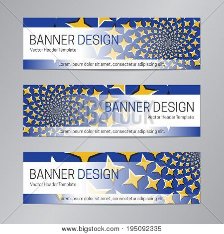Blue yellow banner design. Abstract web header template.