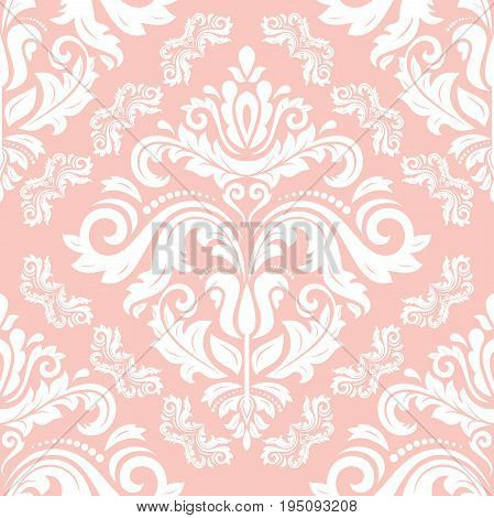 Seamless classic pink and white pattern. Traditional orient ornament. Classic vintage background