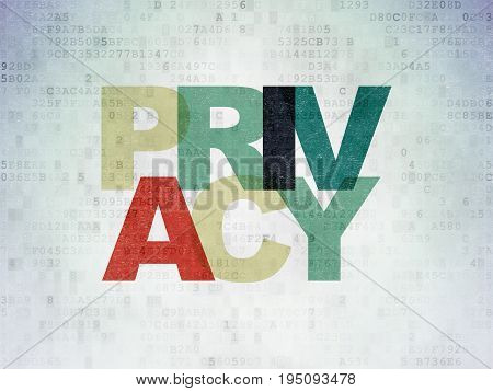 Security concept: Painted multicolor text Privacy on Digital Data Paper background