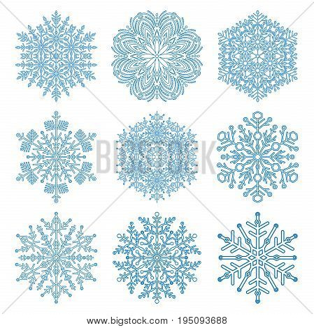 Set of light blue snowflakes. Fine winter ornament. Snowflakes collection. Snowflakes for backgrounds and designs